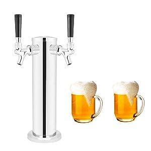 "LoveDeal Stainless Steel Double Tap Draft Beer Tower, Beer Kegerator Tower Dispenser Kit with 2 faucet, Hose, Keg Wrench - 3"" Diameter"