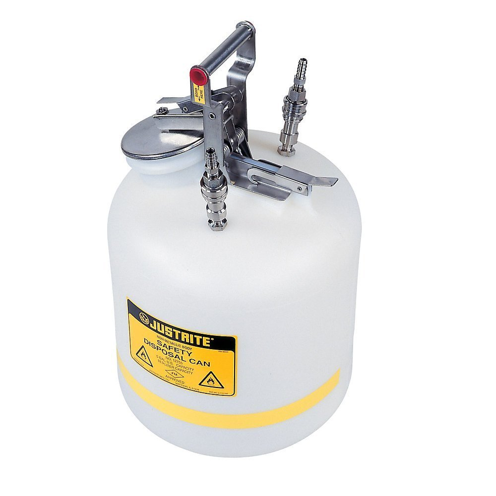 JUSTRITE MANUFACTURING PP12755 Polyethylene Quick-Disconnect Disposal Safety Can, 5 gal Capacity, Polypropylene Fittings for 3/8'' Tubing, 3.65'' Fill/Pour Hole, 20'' H x 12'' OD