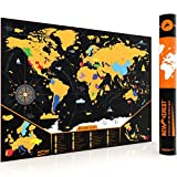 Scratch Off Map of The World by Newverest - with Outlined US States - Poster 24x17 inches - Travel Tracker with Pins, and Scratcher Tool, Black Deluxe Edition with Bold Colors