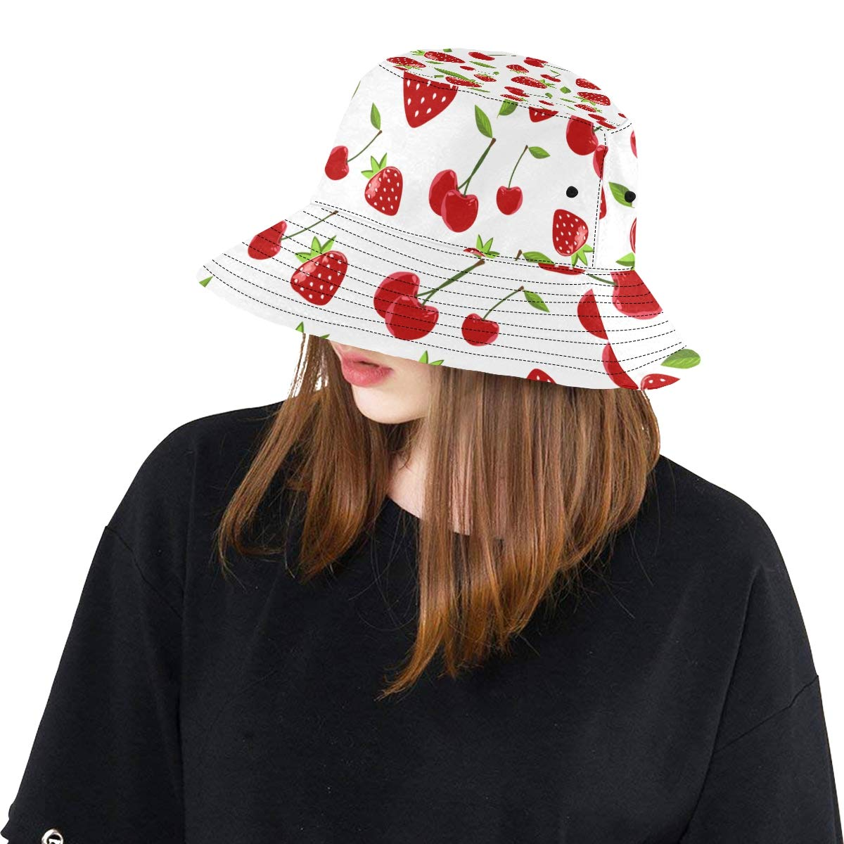 Teens Women and Men with Customize Top Packable Fisherman Cap for Outdoor Travel Strawberry Fruit Fashion New Summer Unisex Cotton Fashion Fishing Sun Bucket Hats for Kid