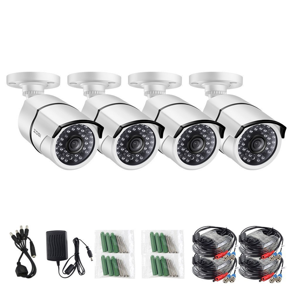 ZOSI 4 Pack HD-TVI 2.0MP 1080p Bullet Security Camera,Indoor/Outdoor Cameras Surveillance with Infrared and Night vision,Only Compatible with TVI Series DVRs