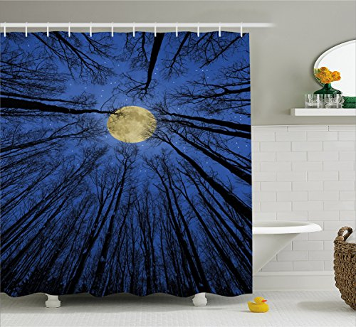 Ambesonne Forest Home Decor Shower Curtain, Full Moon Illumination in Woods Star Night Heavenly Lunar Treetops Up Space Art, Fabric Bathroom Decor Set with Hooks, 75 Inches Long, Blue by Ambesonne (Image #1)