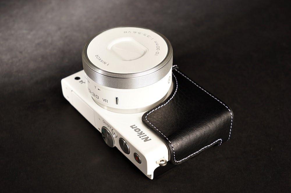 Handmade Genuine real Leather Half Camera Case bag cover for Nikon J4 Black color