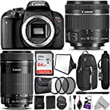 Canon EOS Rebel T7i DSLR Camera with 18-55mm is STM & 55-250mm Lenses Kit w/Advanced Photo & Travel Bundle - Includes: Altura Photo Backpack, SanDisk 64gb SD Card, Monopod, Filter Kit and Neck Strap