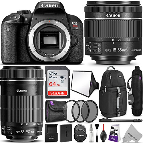 Canon EOS Rebel T7i DSLR Camera with 18-55mm and 55-250mm Lenses Kit w/Advanced Photo and Travel Bundle
