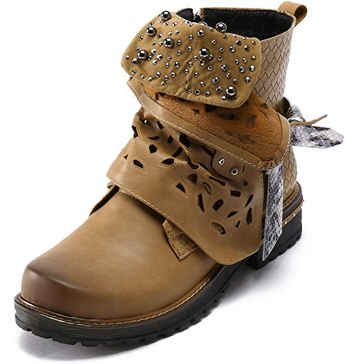 Stiefeletten Damen Schuhe ABsoar Boots Stiefel Frauen Vintage Herbst Winter Stiefel aushöhlen Stiefeletten Lässige High Heels Stiefel Schuhe Frauen