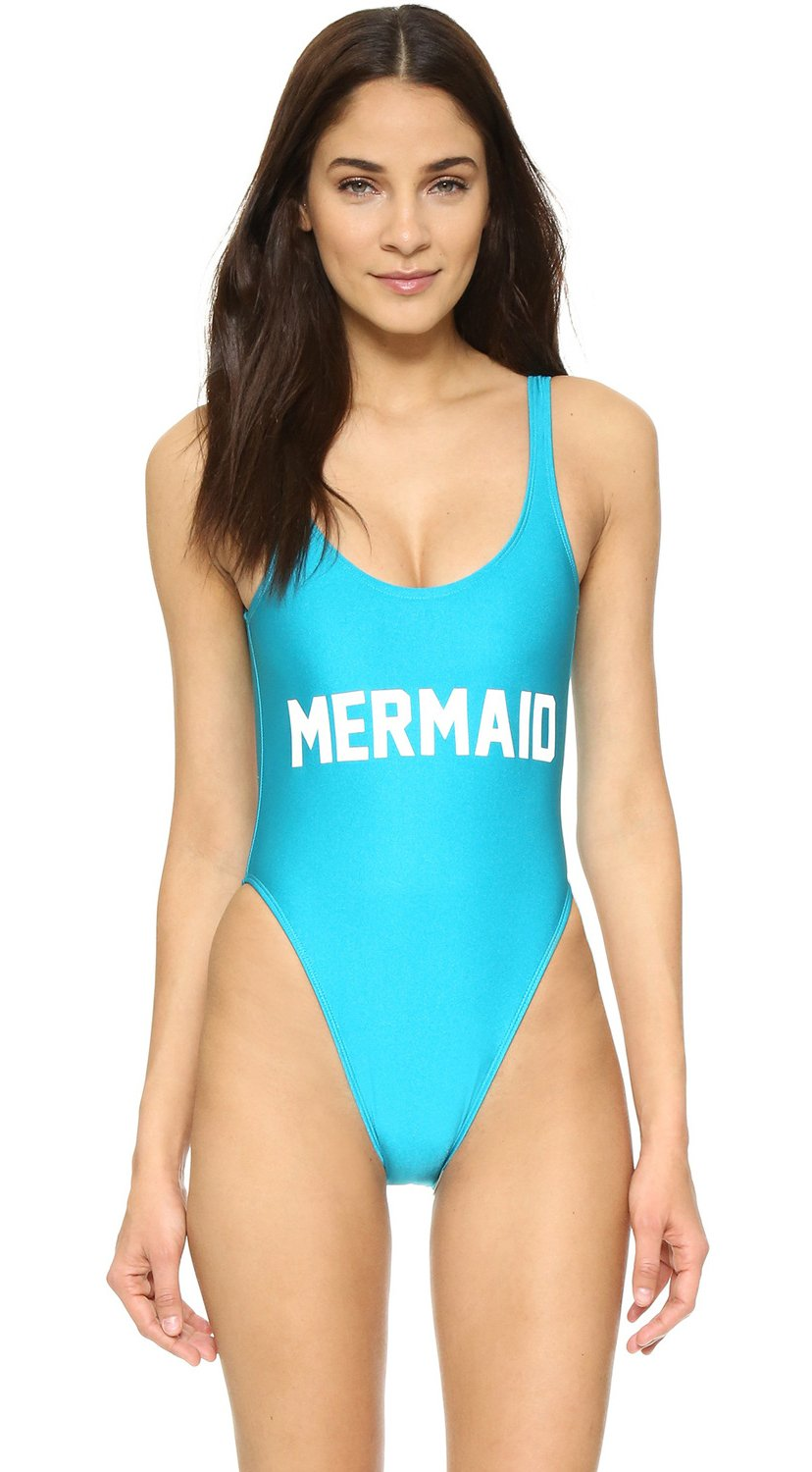 WorkTd Womens Letter Print Backless Monokini One Piece Swimsuit Bathing Suits Mermaid Style S