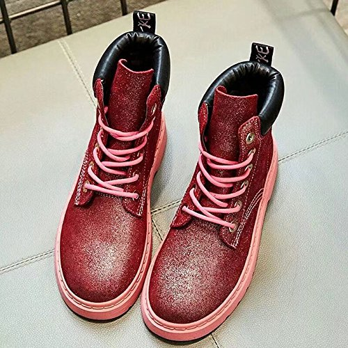 Women's Black Toe ZHZNVX Boots HSXZ Round Outdoor Gold Red Winter Silver For Combat Rubber Shoes Boots Red 556rzw