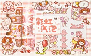 Washi Paper Stickers Masking Tape Set Pink Girl DIY Food Cake Cartoon Animal Craft Decor Label for Scrapbooking Journal Art Project Planner Diary Letter Card Envelope Album (Pink)