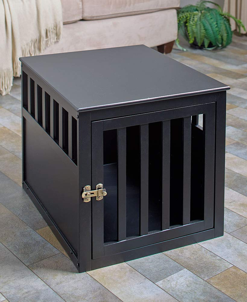 The Lakeside Collection End Table Pet Crate - Black