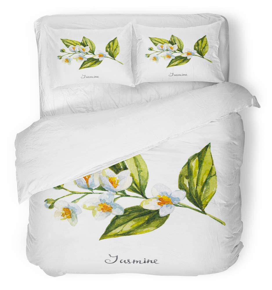 Emvency Bedsure Duvet Cover Set Closure Printed Decorative Green Flower Jasmine Watercolor Tea Asia Drink Nature Plant Herbal Thai Breathable Bedding Set With 2 Pillow Shams Twin Size by Emvency