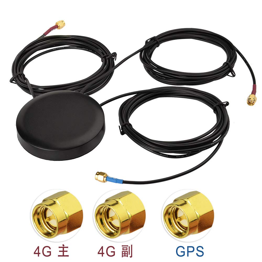 Superbat GPS + 4G LTE Combination Antenna Screw Mount Omni-Directional Antenna with SMA Connector for Vehicle Truck RV Motorhome GPS Navigation 4G LTE Router Cell Phone Booster System
