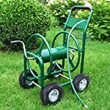 Outdoor Heavy Duty Garden Water Hose Reel Cart 300 FT Yard Planting with Basket
