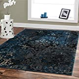 Large Premium Soft Luxury Rugs For Living Rooms 8×11 Navy Blue Rug Beige Brown Black 8×10 Area Rugs Bedroom Office Contemporary Rugs Blue