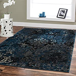 Premium Contemporary Rugs For Living Room Luxury 5x8 Navy Blue Brown Beige Black Flower Abstract Area Rug Modern 5x7 Bedroom Office Prime