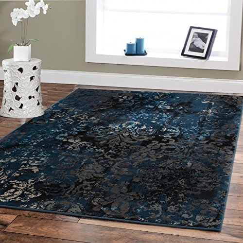 Premium Contemporary Rugs For Living Room Luxury 5x8 Navy Blue Brown Beige Black Flower Abstract Area Rug Modern Rugs 5x7 Bedroom Office Area Rug Prime Clearance Carpet