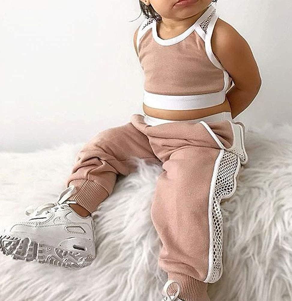 2Pcs Toddler Kid Baby Girl Casual Sport Sleeveless Crop Tank Top Mesh Pants Set Tracksuits