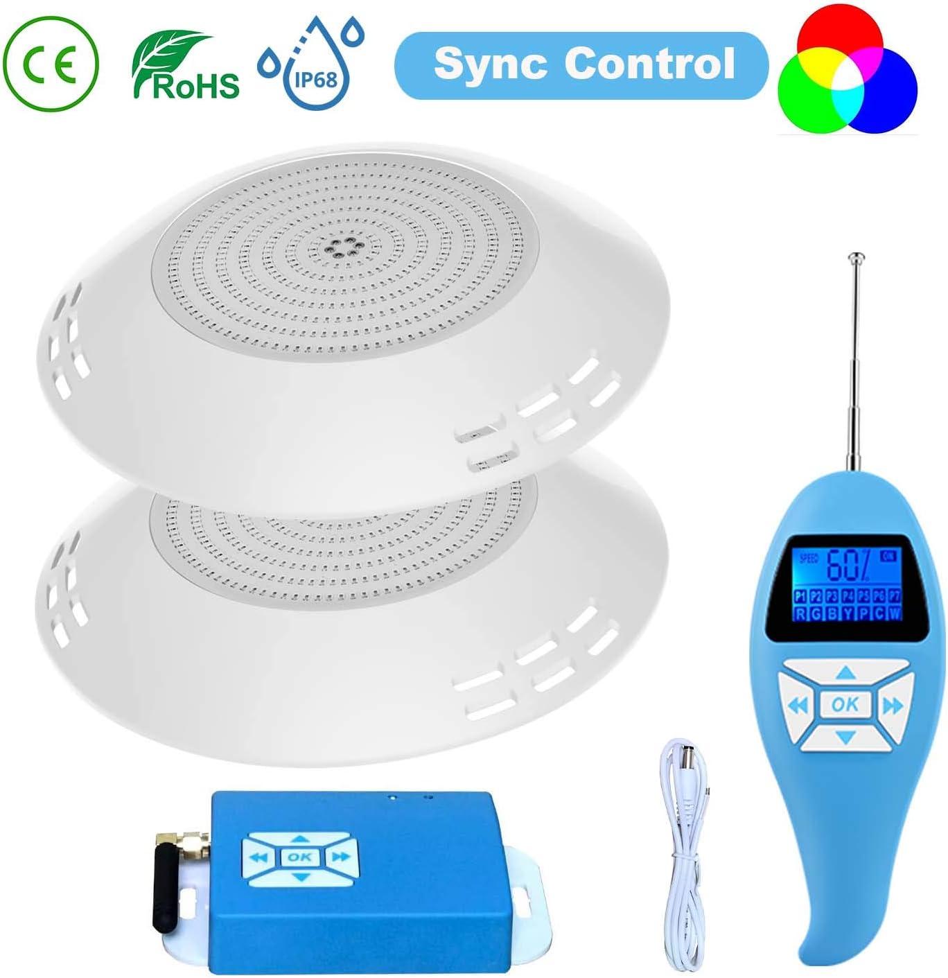 LyLmLe Foco LED Piscina Relleno de Resin, 35W Superficie extraplano RGB Multicolor Lámpara Sincronizador externo con Remoto,IP68 Impermeable,12V AC(2 Focos)