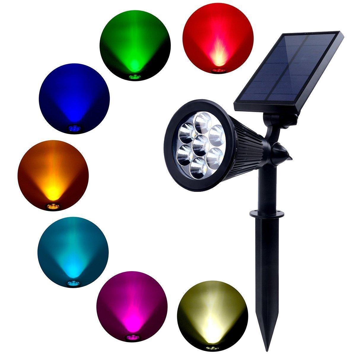 MEIO Outdoor Solar Spotlight, Multi-Colored 7 LED Adjustable Landscape Lighting, Waterproof Wall Light Solar Lights Outdoor with Auto On/Off for Garden Decorations (1 Pack)