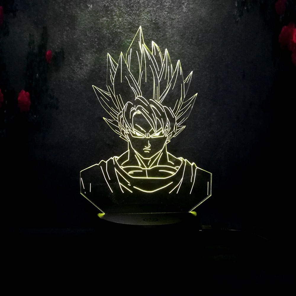 Dragon Ball Z Super Saiyan God Goku Vegeta 7 Color Led Lamp
