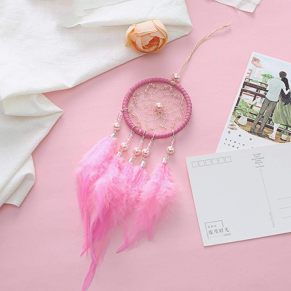 Augproveshak Handmade Circular Net Mini Handmade Dream Catcher Wind Chimes Dreamcatcher Net With Feather Beads For Home Bedroom Decor Car Wall Hanging Ornament Photography Props Girls gift