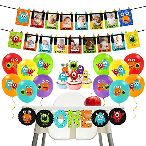 Monster High Themed Party (Monster 1st Birthday Decorations Kit - Monster Bash Photo Banner Balloons Cupcake Toppers for Little Monster Party)
