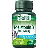 Adrien Gagnon – Melatonina 3 mg, extra fuerte acción rápida ayuda para dormir, sabor menta, 100 tabletas sublingual