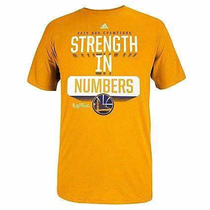 feacab43 adidas Golden State Warriors NBA Men Gold Strength in Number Slogan NBA  Finals Graphic T-