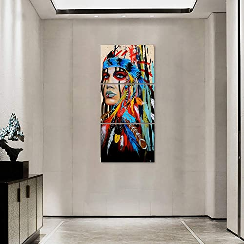 Native American Decor Native American Wall Art Truly Beauty Painting Indian Girl Chief Feathered Women Modern Home Decor Painting Canvas Artworks Picture HD Print Stretched Framed 24×32 Inch/3pc