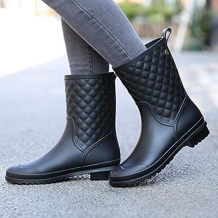 Damen Kurze Gummistiefel,Plaid Lässige Mode Regen Stiefel In