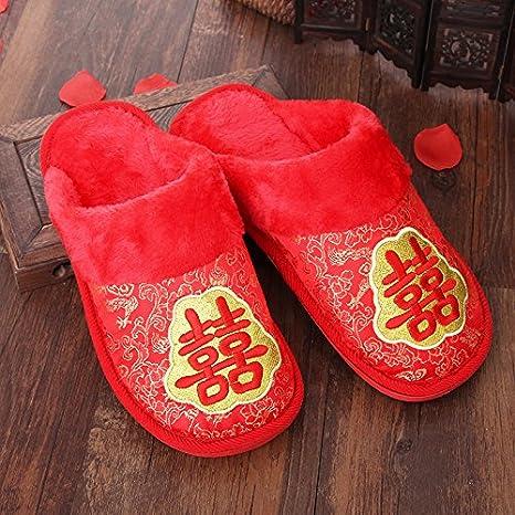 Zapatillas de boda para bodas o parejas de dibujos animados, zapatillas de algodón para boda