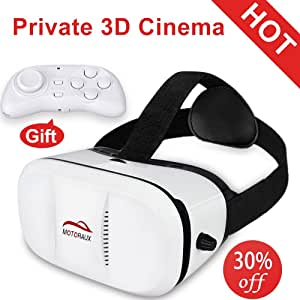 Motoraux 3D VR Virtual Reality Headsets Compatible for Smartphones, Shocking 3D Immersive Effect Glasses With Adjustable Straps for Video/Movie/Games For Gift
