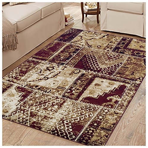 Vintage Rug Patch (Superior Parquet Collection Area Rug, 8mm Pile Height with Jute Backing,  Vintage Patchwork Persian Rug Design, Fashionable and Affordable Woven Rugs, 5' x 8' Rug, Red & Black)