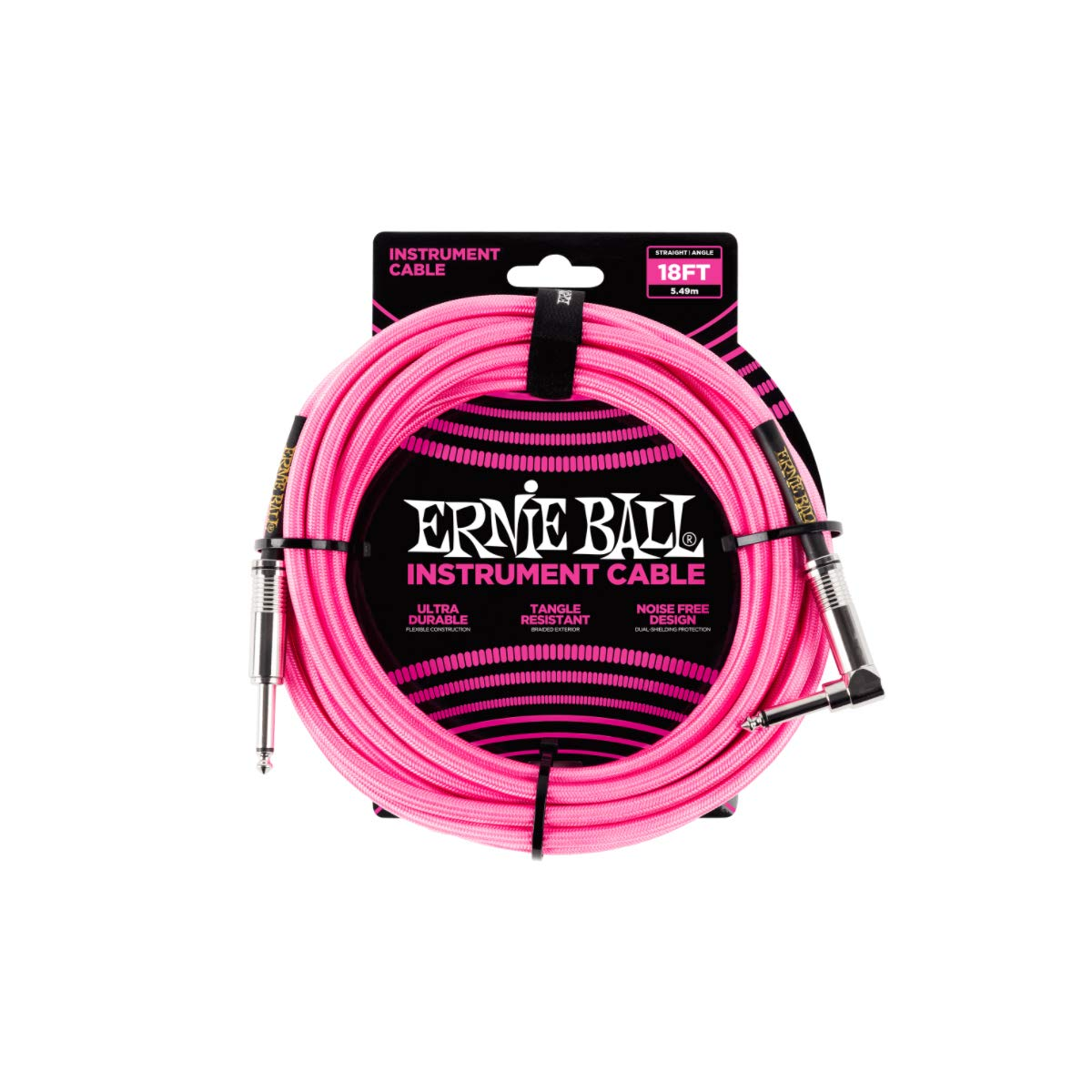 Ernie Ball 18' Braided Straight Angle Inst Cable Neon Pink