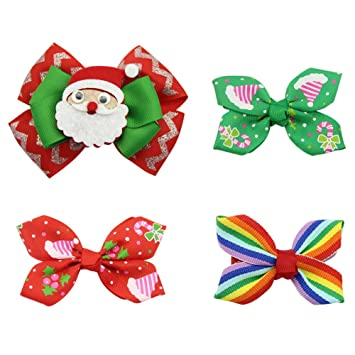 QtGirl 4-8pcs Mixed Bows Hair Clips for Baby Rainbow Hair Bow for Girls Bow f2bec78f90c