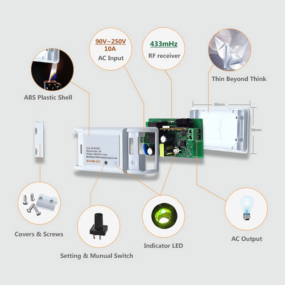 Rf Wifi Wireless Smart Switch With Receiver For Home App Audio 433 Mhz Module Using Circuit Diagram Nonstop Free In Ewelink Control Connect 433mhz
