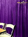 ShinyBeauty 7FTx7FT Purple Sequin Backgroung,Sequin Photo Booth Backdrop,Sequin Wedding Curtain C0317