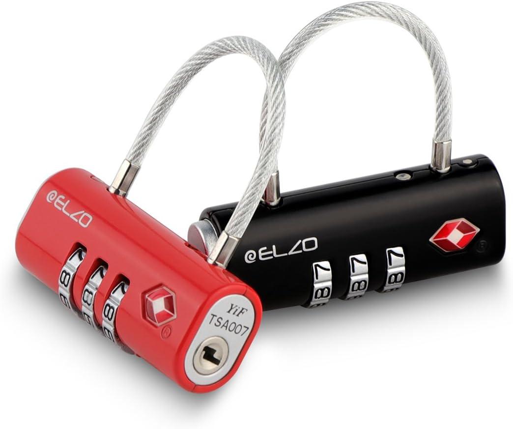 Elzo Candado Combinacion - Candado TSA Equipaje de Seguridad, Combinación de 3 Dígitos para Equipaje Maletas y Viajes, 2 Unidades con Cierre de Cable, Negro y Rojo