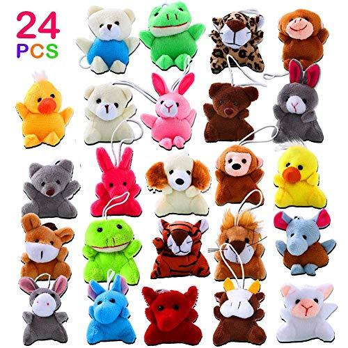 ThinkMax 24 Pack Mini Animal Plush Toy Assortment for Kids Party Favors