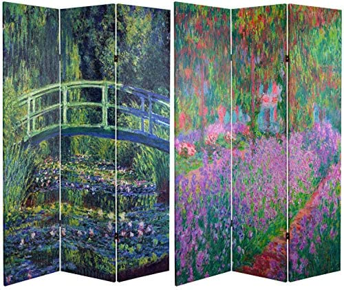 Oriental Furniture 6 ft. Tall Double Sided Works of Monet Canvas Room Divider – Water Lily Garden