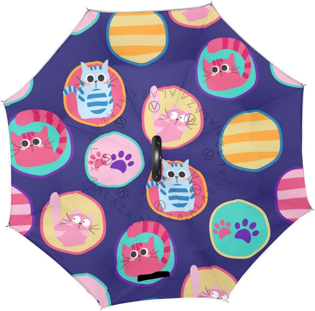Pattern With Cats In Peas Double Layer Windproof UV Protection Reverse Umbrella With C-Shaped Handle Upside-Down Inverted Umbrella For Car Rain Outdoor