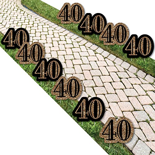 Adult 40th Birthday – Gold Lawn Decorations – Outdoor Birthday Party Yard Decorations – 10 Piece