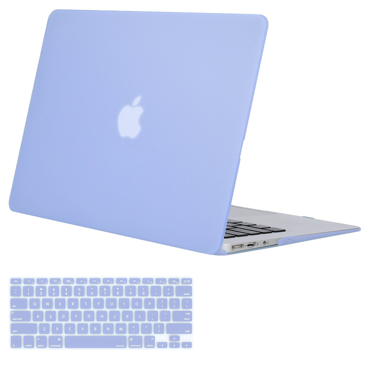 MOSISO Plastic Hard Shell Case & Keyboard Cover Compatible MacBook Air 13 inch (Models: A1369 & A1466), Serenity Blue