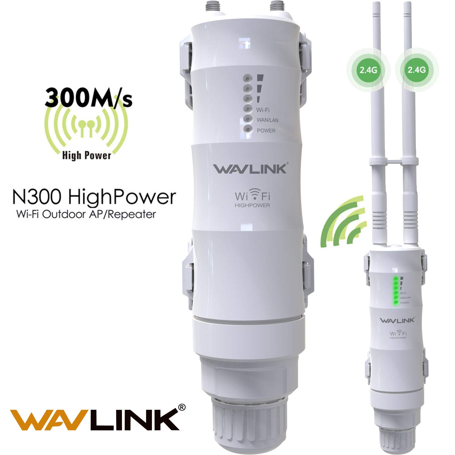 WAVLINK 2.4GHz 300Mbps Outdoor Long Range PoE Access Point, 3 in 1 Weatherproof Wireless AP (CPE)/ Exterior Router/WiFi Repeater Range Extender Internet Amplifier Network Signal Booster in 2 Antennas by WAVLINK