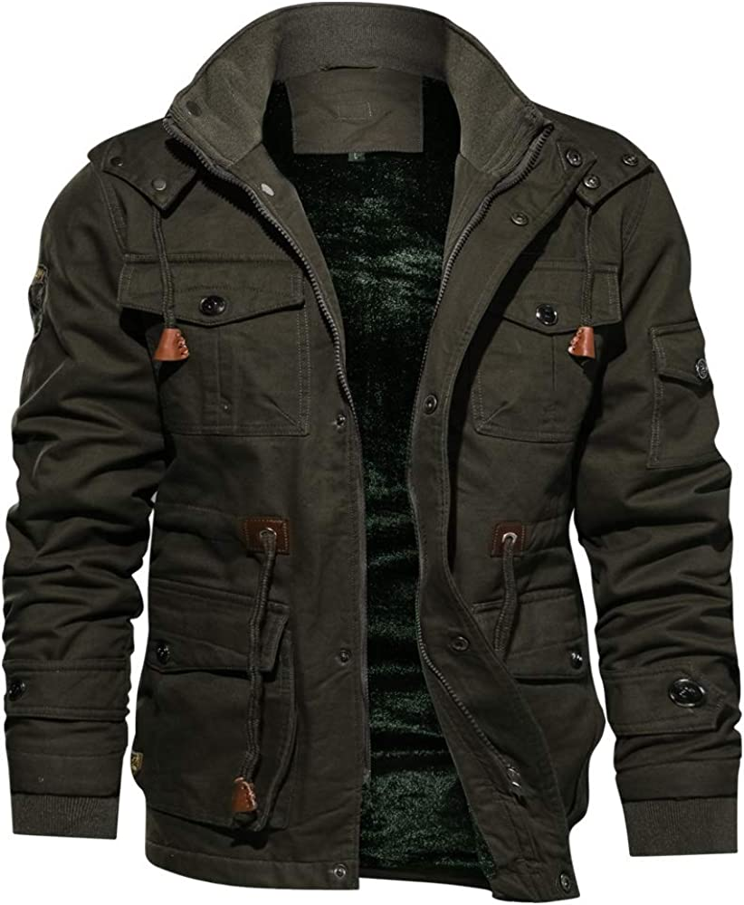 Susclude Men's Jacket Casual Cotton Winter Military Jacket Men Outerwear  Fleece Hooded Coat with Multi Pockets at Amazon Men's Clothing store