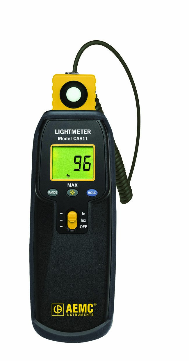 AEMC CA811 MAX Function Lightmeter, 20,000 lux Range, 0.01 lux  Resolution, +/-3%  Accuracy