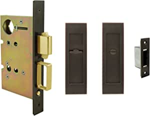 INOX PD83-234-15 Mortise Pocket Door Lock Entry with Deadbolt without Edge Pull Satin Nickel