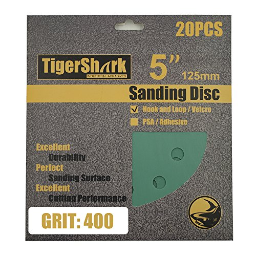 TigerShark 5 Inch Sanding Discs 8 Hole Wet Dry Grit 400 20pcs Pack Special Anti Clog Coating Film Green Line Hook and Loop Velcro Dustless Random Orbital Sander Paper Extra Fine (Hook 400 Grit)