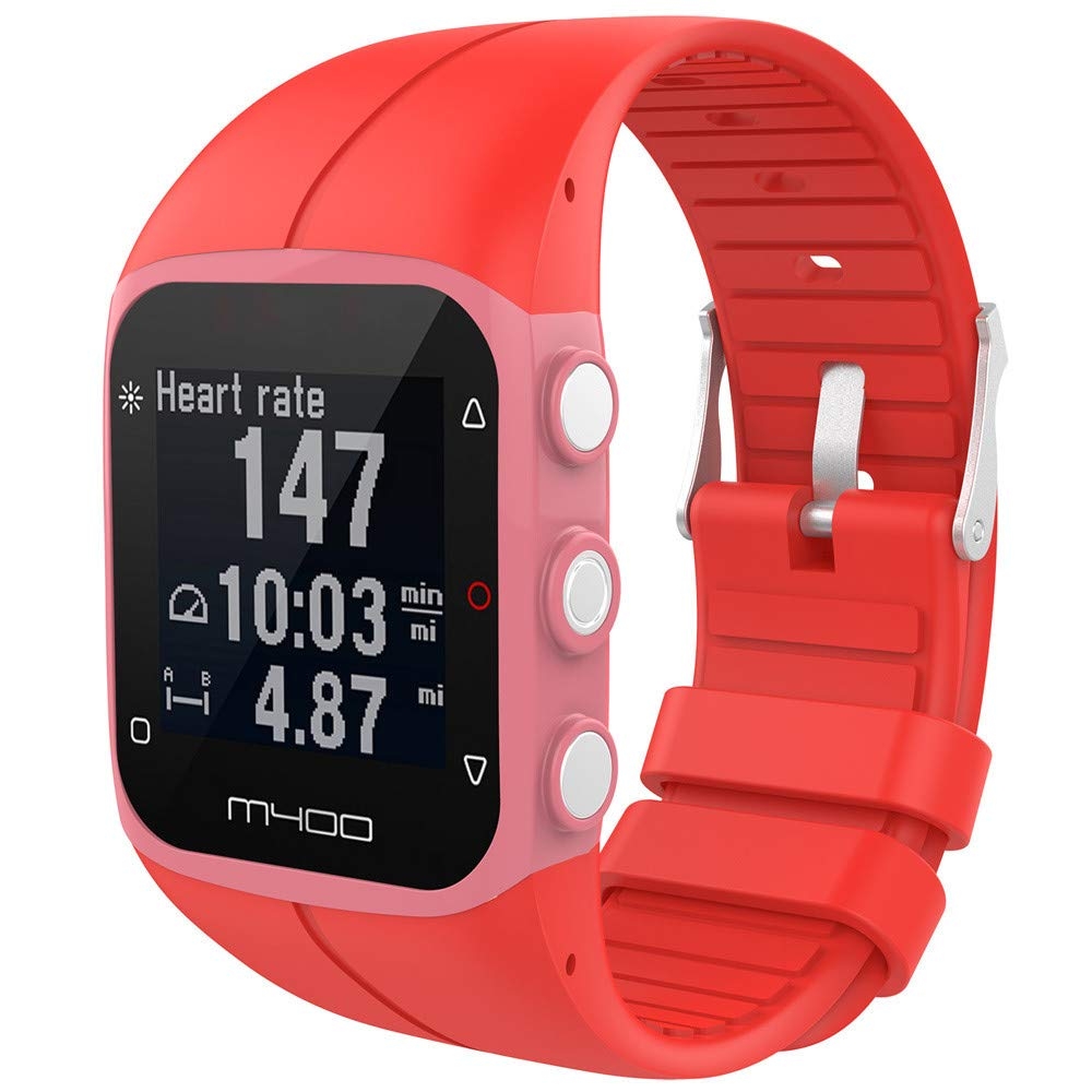 Huangou for Polar M400 M430 Fitness Watch Wrist Straps,Accessory Replacement Soft Silicone Gel Watch Band Wristband Sport Bracelet for Polar M400 M430 Fitness Watch (Red, Free)