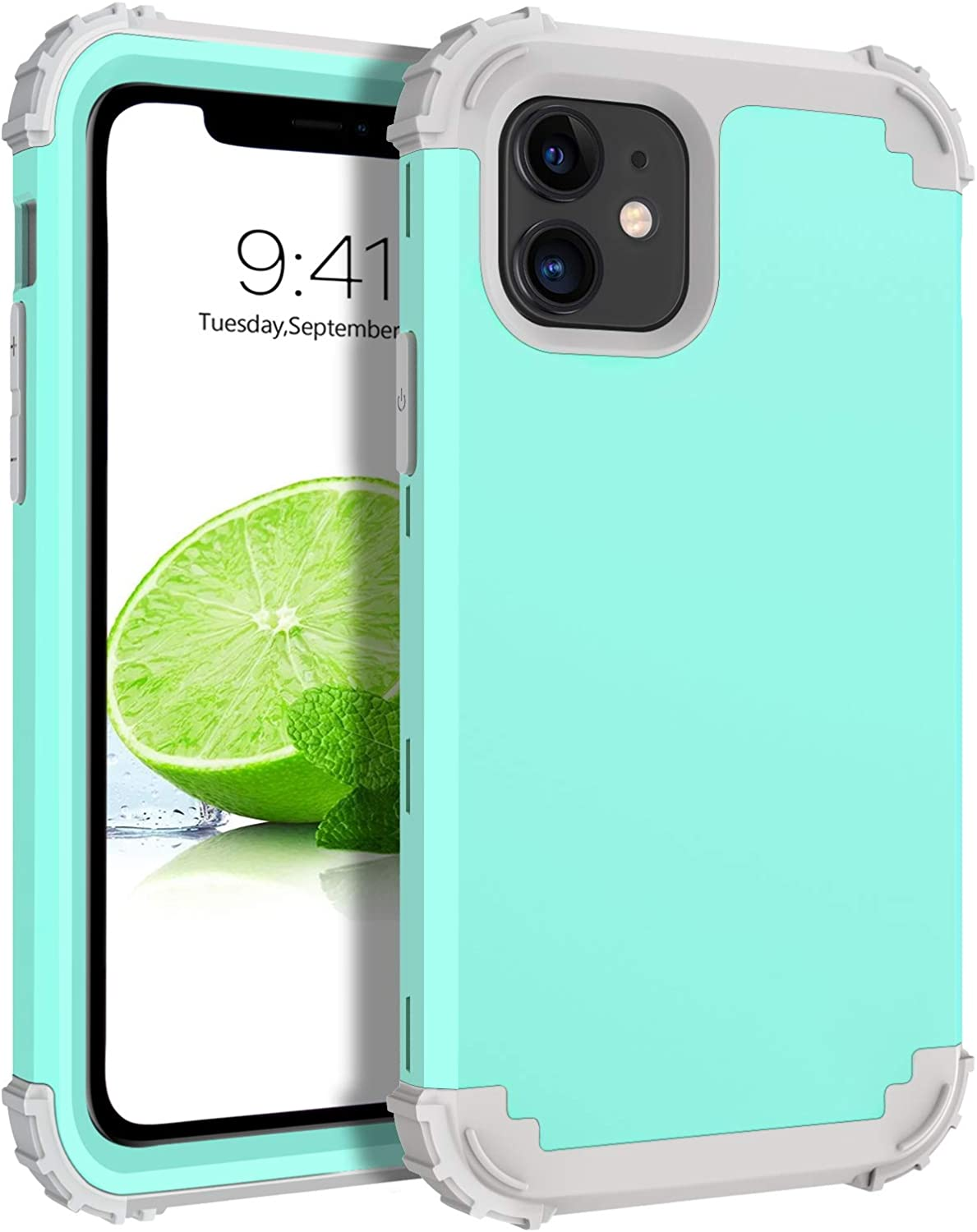 """BENTOBEN iPhone 11 Case, iPhone 11 Phone Case, 3 in 1 Heavy Duty Rugged Hybrid Soft Silicone Bumper Hard PC Cover Impact Resistant Shockproof Protective Case Cover for Apple iPhone 11 6.1"""", Turquoise"""